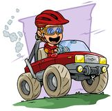 Cartoon boy character driving big off road truck. Cartoon white cute smiling flat brunette boy character driving big red off road monster truck in protective stock illustration