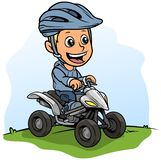 Cartoon Boy Character Driving Quad Motorbike Royalty Free Stock Photos