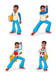 Cartoon boy character. Friendly cartoon Kung Fu school boy character with a book and messenger bag. Martial arts training work-out Stock Image
