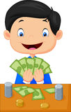 Cartoon boy counting the money Royalty Free Stock Photography