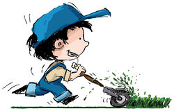 Cartoon boy cutting grass