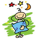 Cartoon boy daydreaming Stock Photography