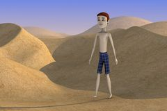 Cartoon boy on desert Stock Images