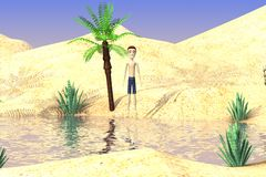 Cartoon boy on desert Royalty Free Stock Photo