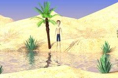 Cartoon boy on desert Royalty Free Stock Photo