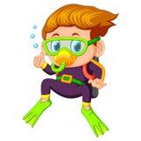 Cartoon boy diving. Illustration of Cartoon boy diving royalty free illustration