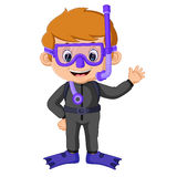Cartoon boy diving Royalty Free Stock Images
