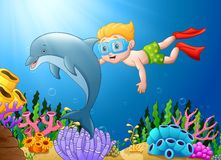 Cartoon boy diving in the sea with dolphin Royalty Free Stock Images