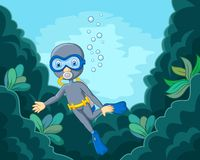 Cartoon boy diving in the sea Stock Images