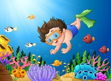 Cartoon boy diving in the sea. Illustration of Cartoon boy diving in the sea Royalty Free Stock Photography