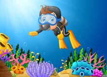 Cartoon boy diving in the sea Royalty Free Stock Image