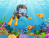 Cartoon boy diving in the sea. Illustration of Cartoon boy diving in the sea Royalty Free Stock Photo