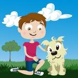 Cartoon boy with dog Royalty Free Stock Photography