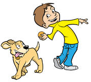 Cartoon boy and dog. Cartoon illustration a boy about to throw a ball for his dog