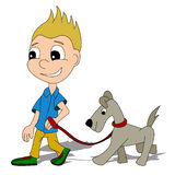 Cartoon boy with a dog Royalty Free Stock Image