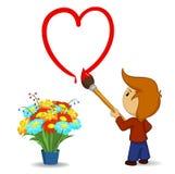 Cartoon boy drawing heart shape with paintbrush Stock Photos