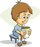Cartoon Boy Drinking Royalty Free Stock Images
