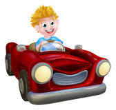 Cartoon Boy Driving Car Stock Photography