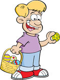 Cartoon boy on an Easter egg hunt. Cartoon illustration of a boy with an Easter basket finding Easter eggs Stock Photo