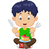 Cartoon boy eating cake  on white background Stock Image