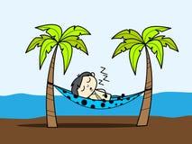 Cartoon Boy Enjoying Vacation at Beach and Sleeping on Hammock. Vector Illustration Stock Photos