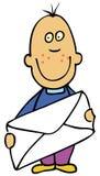 Cartoon boy with envelope Stock Photo