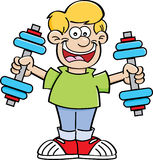 Cartoon boy exercising Royalty Free Stock Image