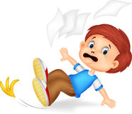 Cartoon boy fall down Royalty Free Stock Image