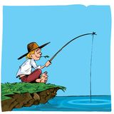Cartoon of a boy fishing. He is on a riverbank Stock Images