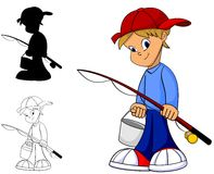Cartoon Boy Fishing. Cool happy kid with fishing rod in color, black and white and silhouette Royalty Free Stock Photography