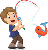Cartoon Boy fishing Stock Image