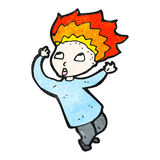 Cartoon boy with flaming hair Stock Image