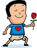 Cartoon Boy Flower Royalty Free Stock Images