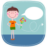 Cartoon boy with flowers Stock Photography