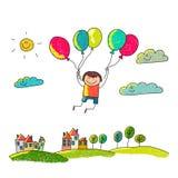 Cartoon boy fly at hot air balloons. Stock Photography