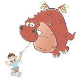 Cartoon boy is flying a dragon kite. Illustration of a cartoon boy is flying a dragon kite Royalty Free Stock Photos