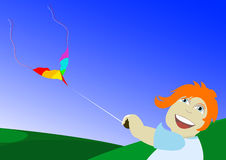 Cartoon boy flying kite. An artistic view of a small boy with orange hair, flying a kite on a grassy hillside stock illustration
