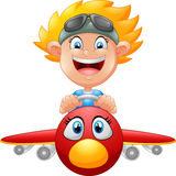 Cartoon Boy Flying Plane. Illustration of Cartoon Boy Flying Plane Royalty Free Stock Photo