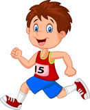 Cartoon boy follow the race Royalty Free Stock Photo