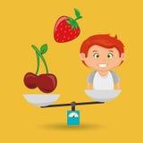 cartoon boy food fruit balance Stock Photography