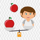 cartoon boy food fruit balance Royalty Free Stock Images