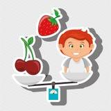 cartoon boy food fruit balance Royalty Free Stock Photo