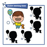 Cartoon boy game. Vector illustration of shadow matching game with happy cartoon boy for children Stock Images