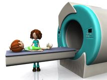 Cartoon boy getting an MRI scan. A young cartoon boy getting ready for a Magnetic resonance imaging scan, MRI. A nurse is beside him. White background Stock Photos