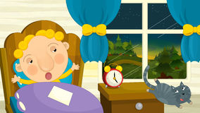 Cartoon boy is getting up or going to sleep stock illustration