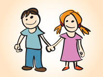 Cartoon boy and girl Stock Images