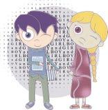 Cartoon boy and girl Royalty Free Stock Photo