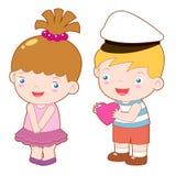 Cartoon boy and girl Stock Image