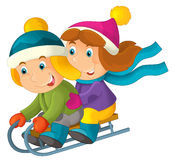 Cartoon boy and girl - activity - sliding Stock Image