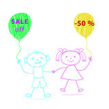 Cartoon boy and girl with balloons drawn by chalk on white backg Royalty Free Stock Photo